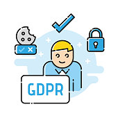 GDPR, RGPD, DSGVO - concept illustration. General Data Protection Regulation. The protection of personal data, isolated on white background.