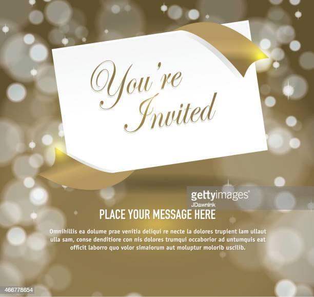 Allgemeiner gold-Einladung Vorlage-design mit envlope auf Winkel
