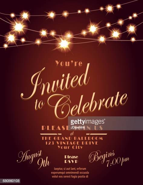 Generic Lights brown invitation design template with string lights