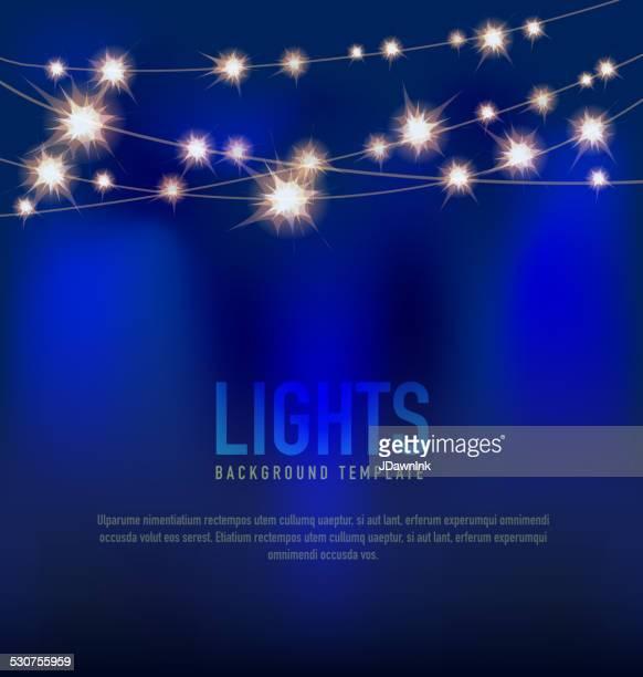 Allgemeiner Lichter-design-Vorlage mit Schnur Licht Blau Hintergrund