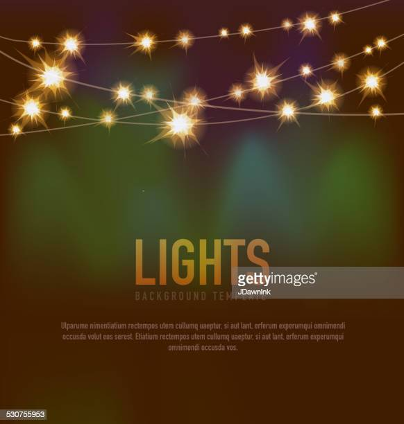 Generic Lights design template with string lights brown green background