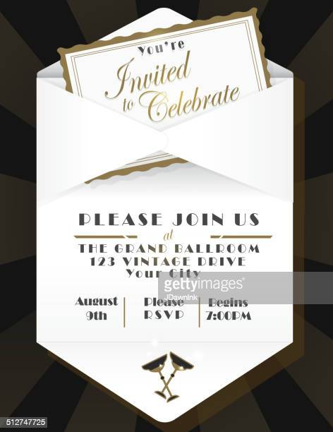 Generic opened envelope invitation design template black background
