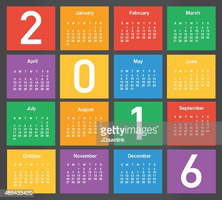 2016 Generic Printable Calendar Design Template Layout Vector Art
