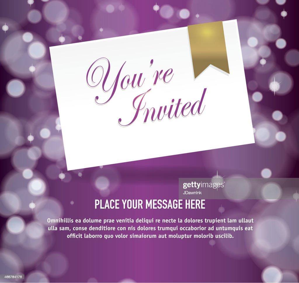 purple and gold invitation templates