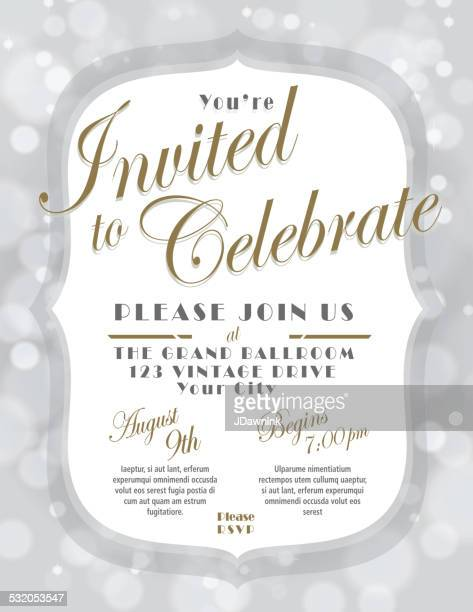 Generic silver and gold invitation template design