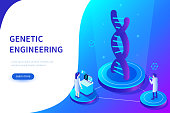 Genetic engineering concept. Can use for web banner, infographics, hero images. Flat isometric vector illustration isolated on white background.