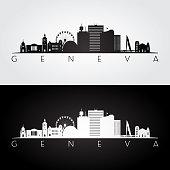 Geneva skyline and landmarks silhouette, black and white design, vector illustration.