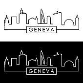 Geneva skyline. Linear style. Editable vector file.