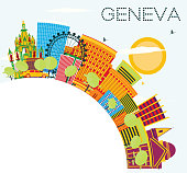 Geneva Skyline with Color Buildings, Blue Sky and Copy Space. Vector Illustration. Business Travel and Tourism Concept. Image for Presentation Banner Placard and Web Site.