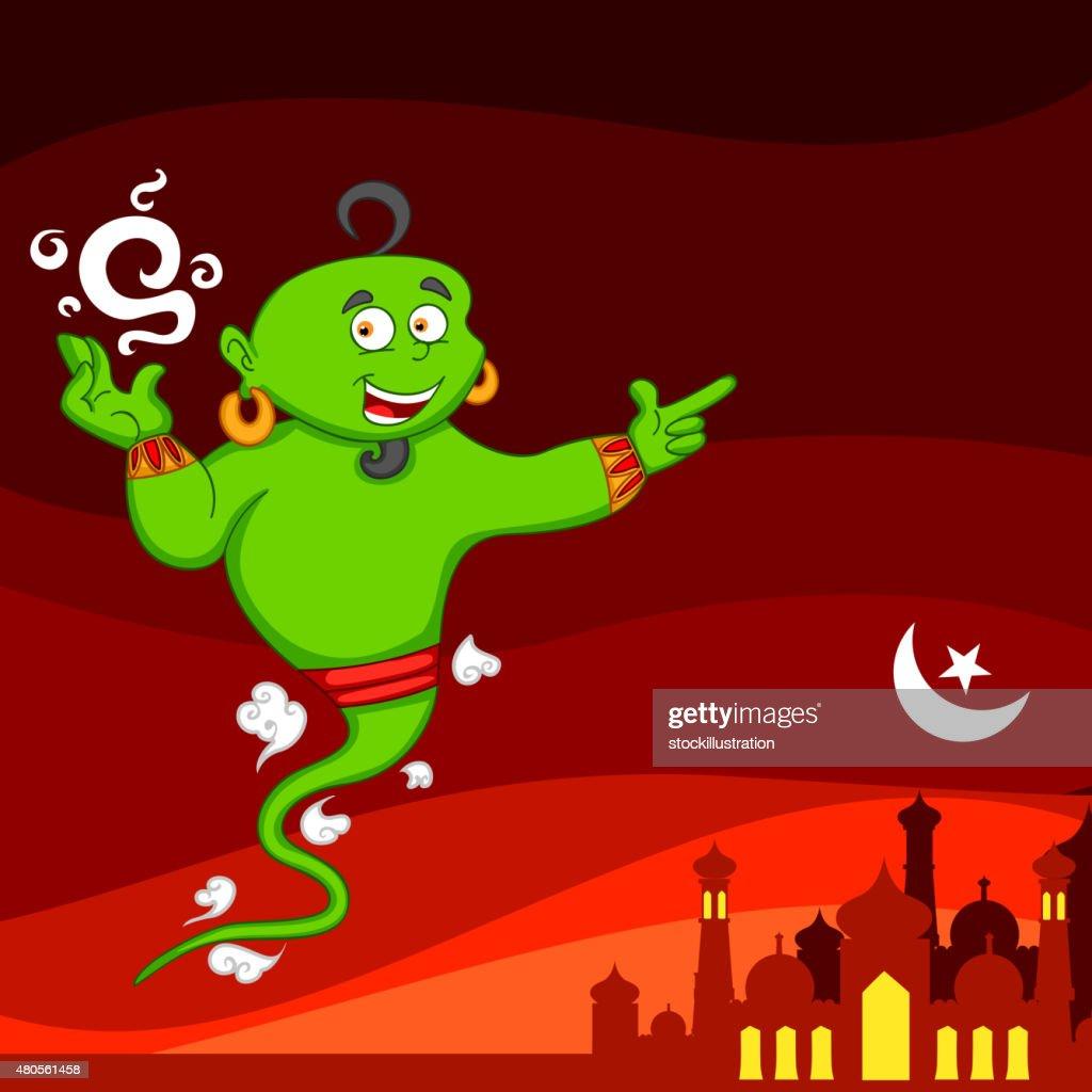 Genie wishing Eid mubarak : Vector Art