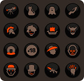 Set of movie genres color vector icons on dark background for user interface design