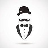 Vector illustration: retro gentleman symbol.
