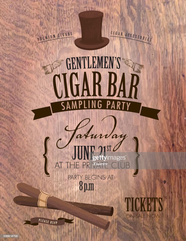 Gentlemen's cigar party invitation design : Vector Art