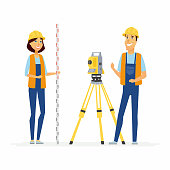 Geodesists - cartoon people characters illustration isolated on white background. Young smiling standing man and woman in orange and blue overall with geodetic device, survey instrument, tachymeter