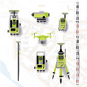 Geodetic equipment vector illustration. Measuring instruments in flat design. Theodolite, tacheometer, total station, drone, level, map sketch isolated on world map background.