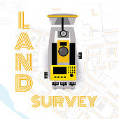 Geodetic measuring equipment, engineering technology for land survey and geodesy on city map background