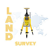 Geodetic measuring equipment, engineering technology for land survey on world map background