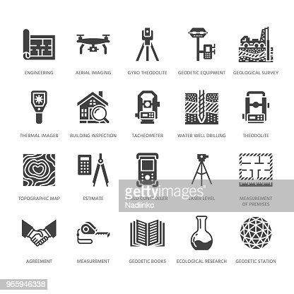 Geodetic survey engineering vector flat glyph icons. Geodesy equipment, tacheometer, theodolite. Geological research, building measurements. Construction signs. Solid silhouette pixel perfect 64x64 : stock vector