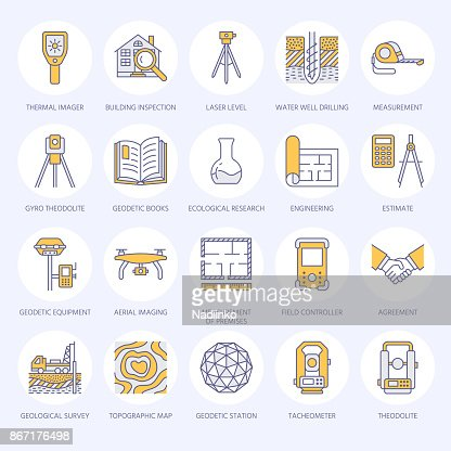 Geodetic survey engineering vector flat line colored icons. Geodesy equipment, tacheometer, tripod. Geological research, building measurement inspection illustration. Construction service signs : stock vector