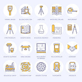 Geodetic survey engineering vector flat line colored icons. Geodesy equipment, tacheometer, tripod. Geological research, building measurement inspection illustration. Construction service signs.