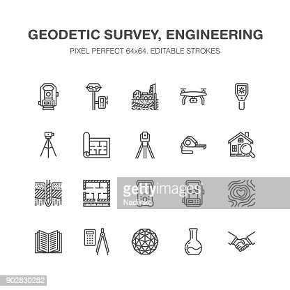 Geodetic survey engineering vector flat line icons. Geodesy equipment, tacheometer, theodolite, tripod. Geological research, building measurements. Construction service signs. Pixel perfect 64x64 : stock vector
