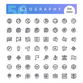 Set of 56 geography line icons suitable for web, infographics and apps. Isolated on white background. Clipping paths included.