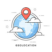 Geolocation. location pin, navigation, local seo. Flat line art style concept. Vector banner, icon, illustration Editable stroke