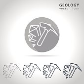 Geology outline icon set, collection of mineral icons, vector illustration