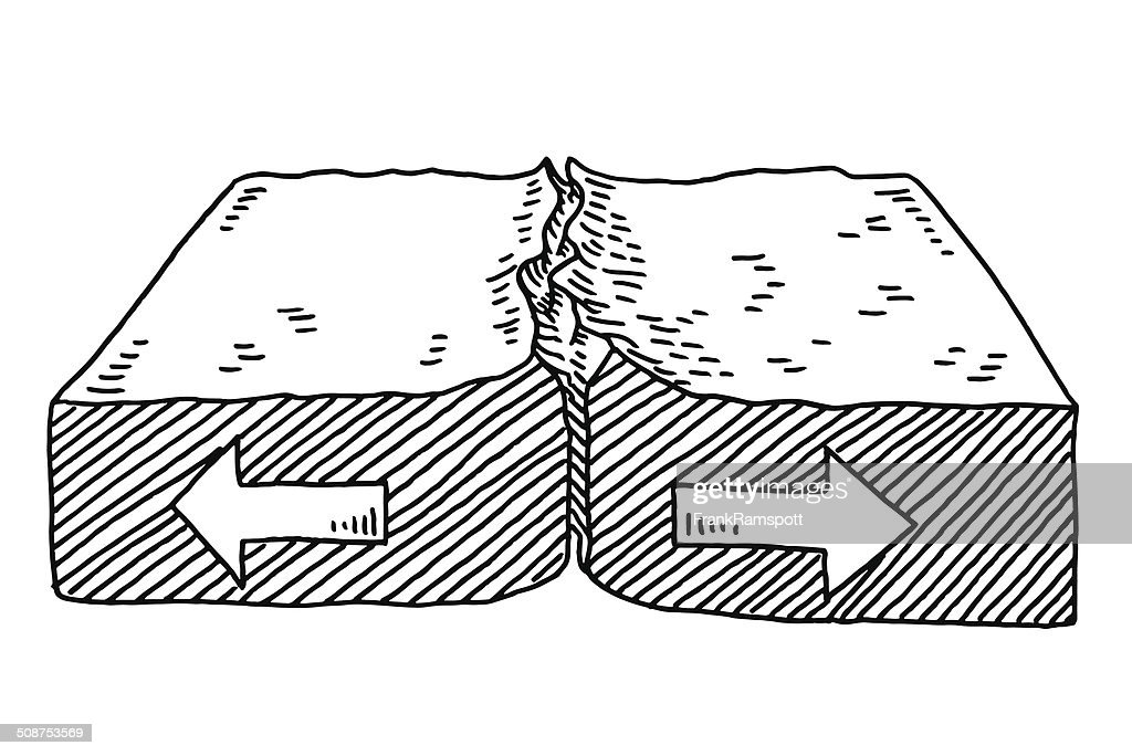 Geology Plate Tectonics Diverging Drawing Vector Art