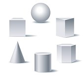 Geometric 3d figures. White basic shapes of geometry on white background with shadows vector illustration