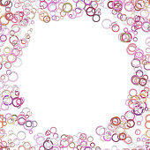 Geometric abstract chaotic circle background - vector graphic design from colorful rings with blank space in the middle