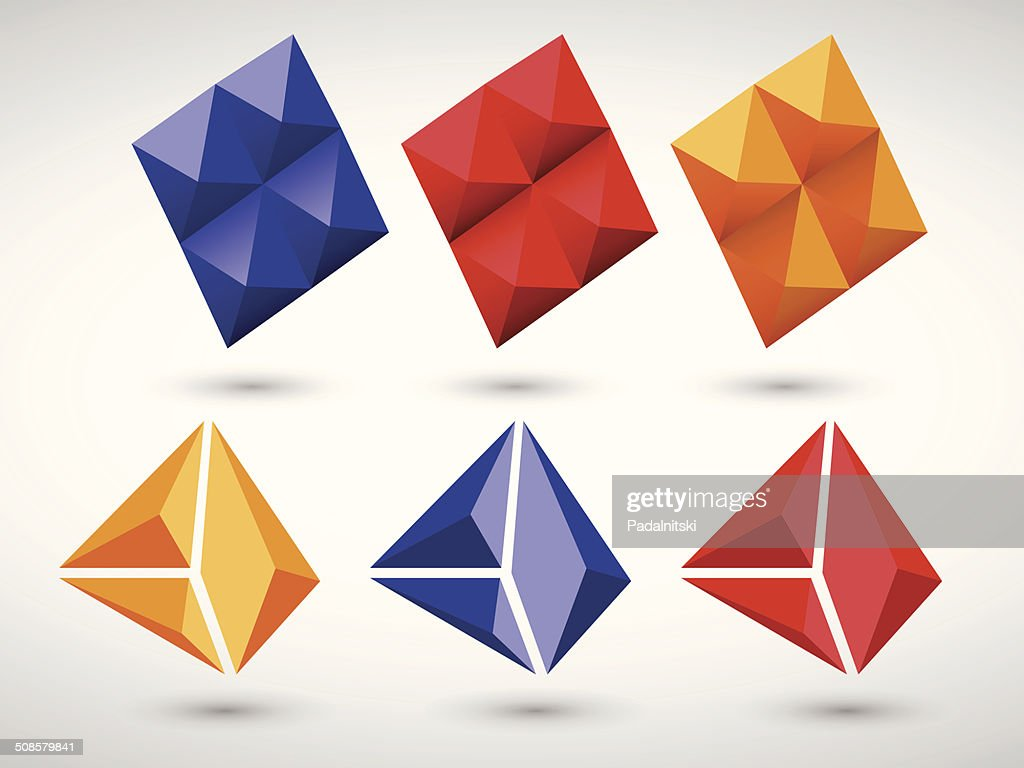 Geometric abstract polygon icon set : Vector Art