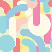 Geometric abstract seamless pattern. Linear motif background. Colorful shapes of curves, strokes and dots