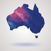 Bright Australia map in national colors. Geometric style, low poly, triangles, polygons. Vector, isolated eps 10