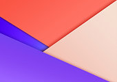 Abstract geometric background. Overlap layers. Modern Wallpapers for mobile or web design. Vibrant gradient. Living coral and purple proton. Message board for text. Diagonal stripes of cut paper.