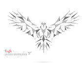 Geometric bird polygon with triangles, circles, and lines. Abstract. Vector illustration. Eagle.