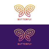 Stylized geometric butterfly symbol design on white and dark purple background. Elegant vector illustration.
