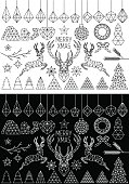Geometric Christmas vector set, black and white design elements