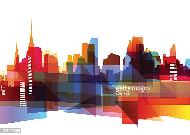 Geometric city skyline