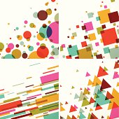 Geometric colors background set of 4.