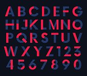 Geometric decorative colored font, vector letters and numbers alphabet