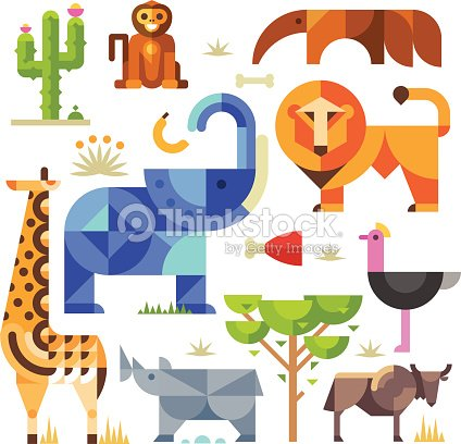 g om trique lafrique animaux et plantes clipart vectoriel thinkstock. Black Bedroom Furniture Sets. Home Design Ideas