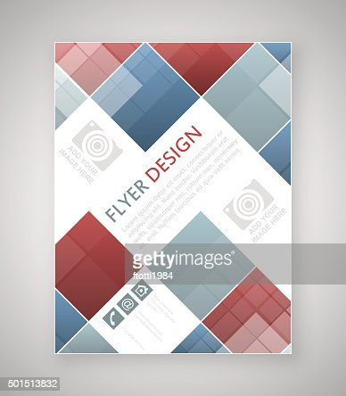 Geometric Flyer Template Design With Blue And Red Square Elements