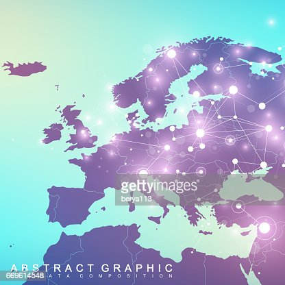 Geometric graphic background communication with Europe Map. Big data complex with compounds. Perspective backdrop. Minimal array. Digital data visualization. Scientific cybernetic vector illustration : Arte vectorial