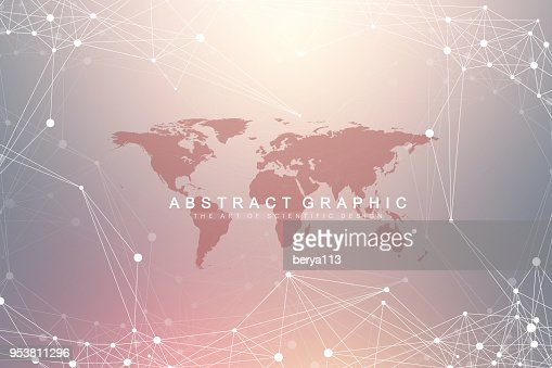 Geometric graphic background communication with World Map. Big data complex with compounds. Perspective backdrop. Minimal array. Digital data visualization. Scientific cybernetic vector illustration : stock vector