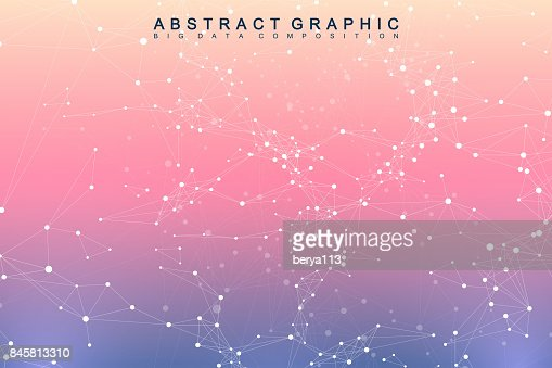 Geometric graphic background molecule and communication. Big data complex with compounds. Perspective backdrop. Minimal array. Digital data visualization. Scientific cybernetic vector illustration : stock vector