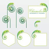 Geometric green chameleon lizard page decoration borders and frames. Vector illustration add-ons and graphic resources. Rectangular, square, circle and hexagon frame shapes