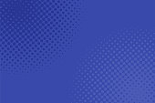 Geometric halftone dot pattern background - vector graphic design from blue circles.