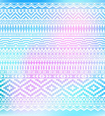 Geometric hand drawn white pattern on bright  background. American Indians tribal style