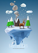 Trees, clouds, snow, reindeer on floating frozen island
